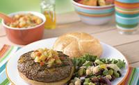 Caribbean Burgers with Honey Pineapple Chutney